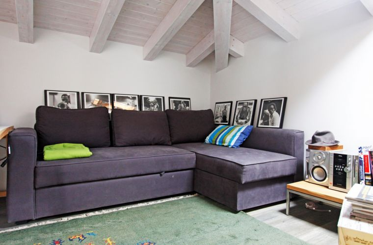 Spare room with a comfortable double sofa bed