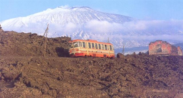 The circumetnea, a train around the volcano