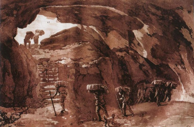 The Grotta dei Ladroni in an old drawing