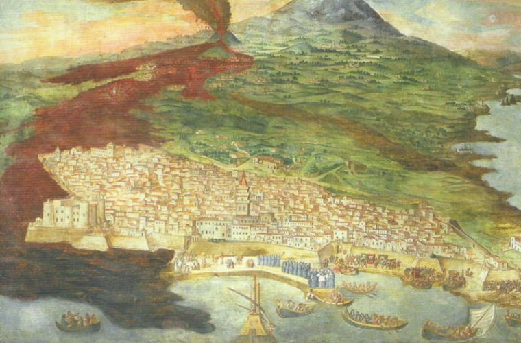 Eruption of 1669 paiinted by Giacinto Platania who lived the experience from Catania
