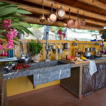 Covered outdoor kitchen, oven, stoves, BBQ and mini bar