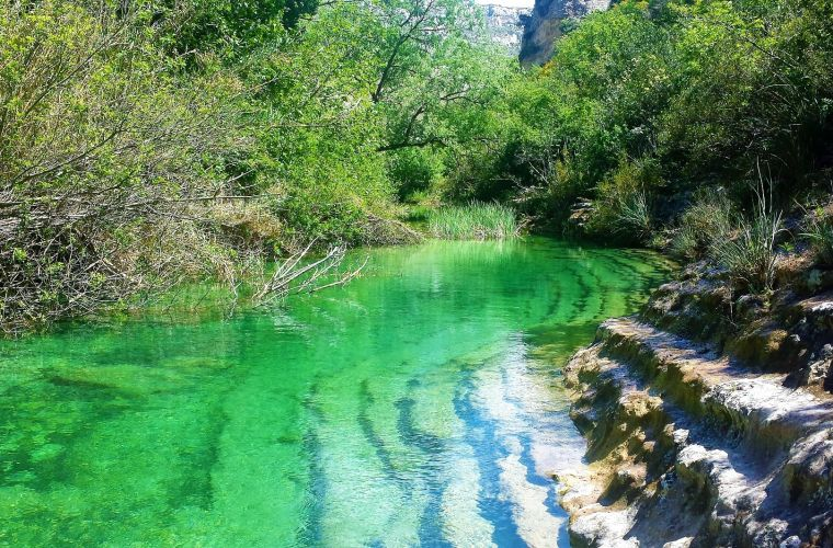 The emerald colour of the river