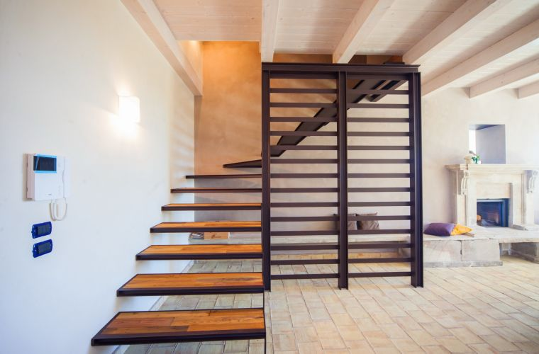 Staircase is made with the wooden of the barrels