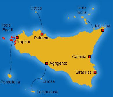 Cartina Della Sicilia Con Le Isole.Mappe Della Sicilia