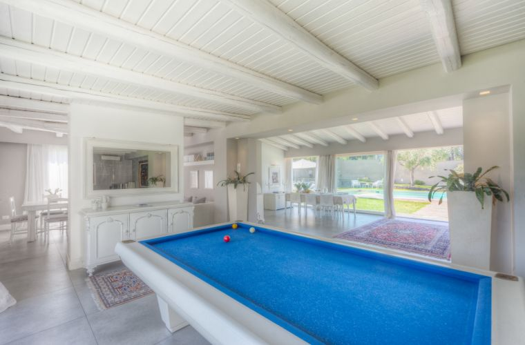 Billiard facing the pool: the kitchen is on the left and the sleeping night on the right