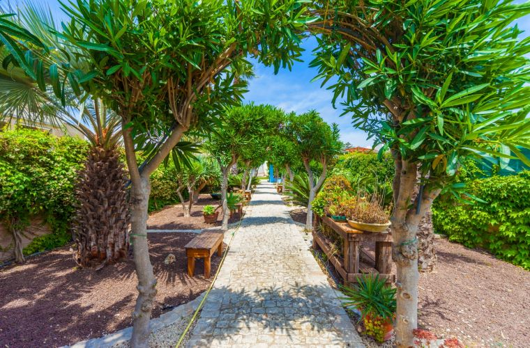 Passing the main gate there is a tropical garden (that the owner has devoted to his Thai daughter), greenery and well maintained, full of Sicilian and Asiatic plants as: lemon trees, palm trees, ficus, yucca … and a lot of aromatic ones as well as many se