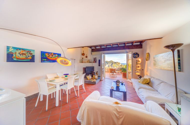 Living room, terrace, Mediterranean sea, Isola Bella