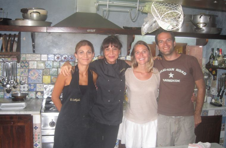 Ivana (sous-chef), Silvana, Pascala and Sebastien after a Cooking Lesson about Cannoli and Pizza
