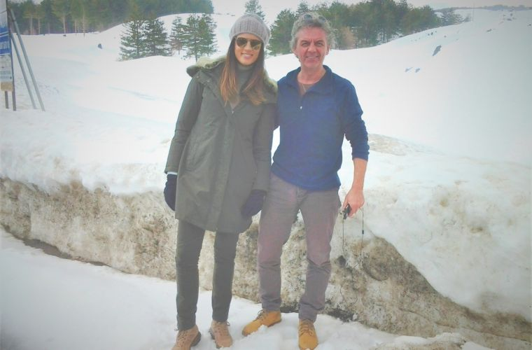 With Daniela Ferolla during a television shooting in mount Etna