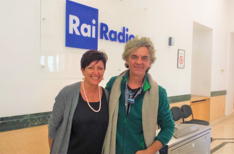 With Cettina Flaccavento (radio director) in Rome at the headquarter of Rai