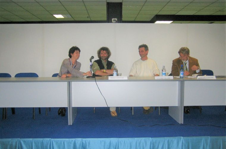 """Angelo e le aquile"" book presentation: from the left, the editor, Angelo d'Arrigo, me and Gaetano Perricone"