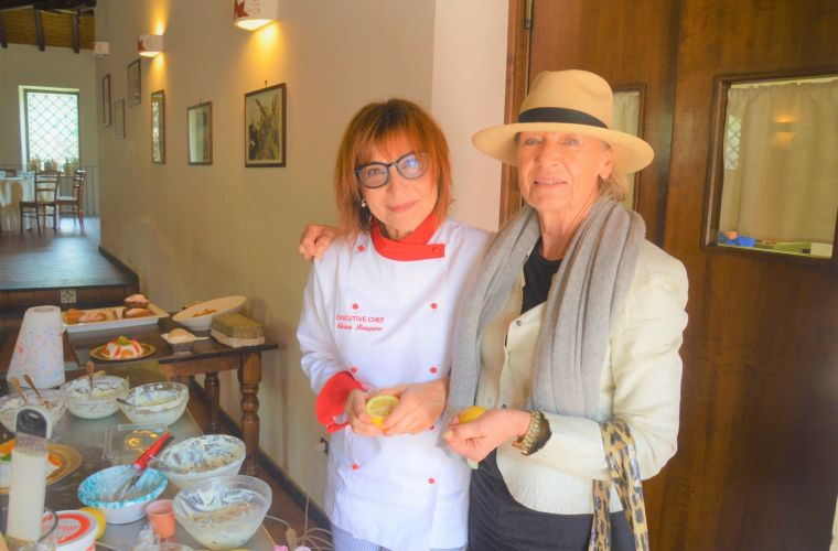Our chef Silvana with the Bahlsen owner after a lesson