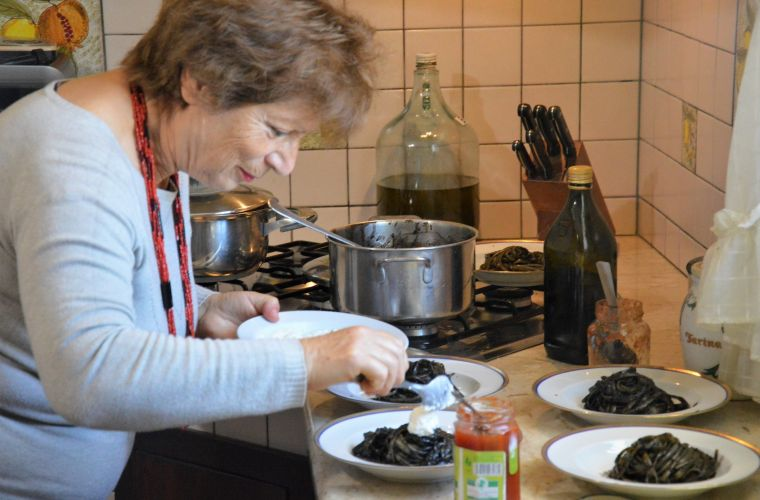 Mary is preparing the Pasta al Nero di seppia