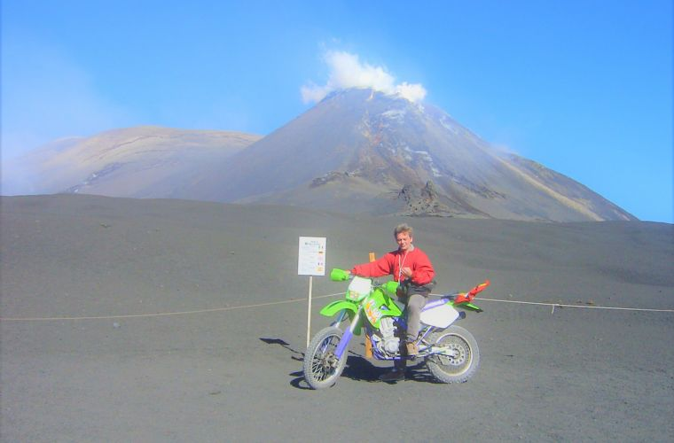 The writer Giovanni Vallone (one of the guides) was the first person to be authorized by the Etna Park to ascend the crater of the volcano with a motorcycle for a broadcasting project.