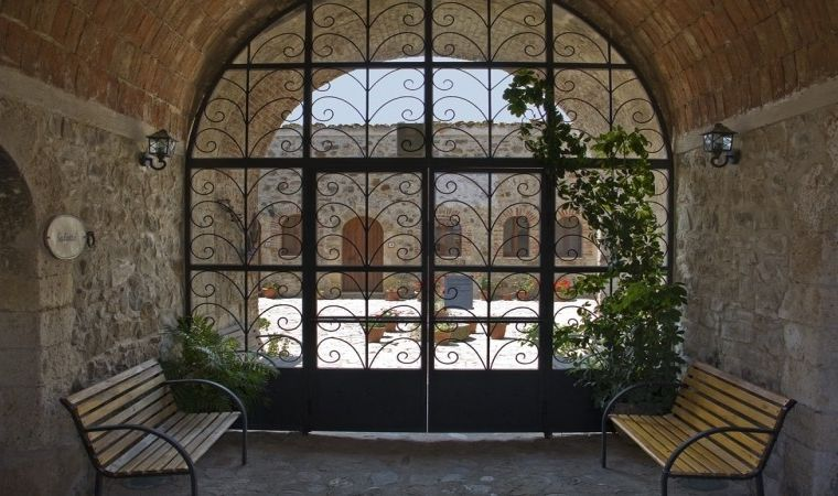 Glass window towards the ancient courtyard